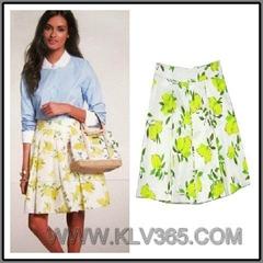 New Summer Wear Ladies Fashion Flower Flared Skirt
