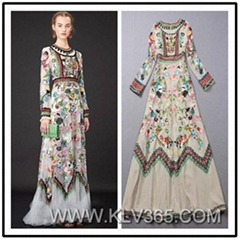 Ladies Fashion Long Sleeve Embroidery Party Evening Dress