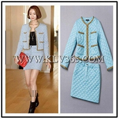 Women Fashion Trendy Jacket Blouse and Skirt Set China Wholesale