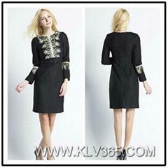 Designer Women Embroidery Winter Wool  Dress China Wholesale