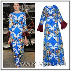 Hot Selling Ladies Flared Long sleeve Printed Full Length Long Prom Dress
