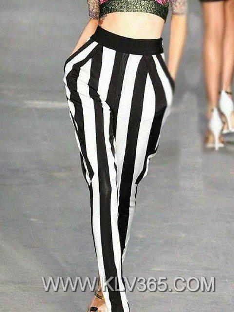 Women Pants Fashion Striped Long Harem Pants Wholesale 2