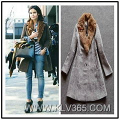 New Design Women Fashion Winter Wool Rabbit  Fur Lapel Collar Warm Long Coat