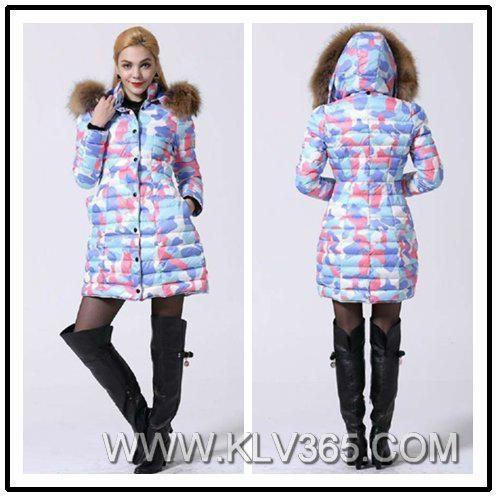 Women Fashion Winter Coat Mink Fur Hooded Duck Down Long Coat  Wholesale