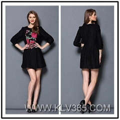 Women Winter Dress black Embroidery Casual Dress for Ladies Wholesale