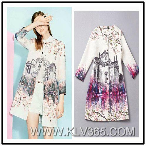 High Fashion Women Floral Printed Spring Autumn Polyester Long Coat Wholesale