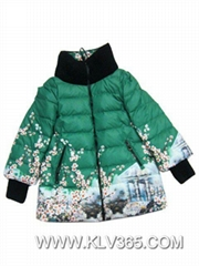 Latest design 2015 Women Winter Down jacket Ladies floral Print Winter parka