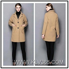 Designer Women Fashion Simple Pocket Wool Coat Manufacture in China