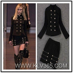 Runway Fashion Ladies Winter Wool Long Sleeve Jacket Blouse And Skirt Set
