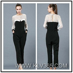 Designer Women Adult Cotton Lace Jumpsuit Pants for Spring Autumn