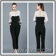 Designer Women Adult Cotton Lace Jumpsuit Pants for Spring Autumn