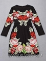 Latest Dress Designs Women Long Sleeve Cotton Flower Celebrity Dress Wholesale