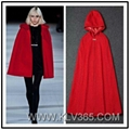 High Quality Designer Women Clothes Winter Wool Cashmere Hooded Cape Outerwear 1