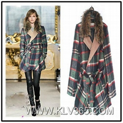 Women Fashion Winter Mink Fur Lapel Collar Belted Waist Wool Wrap Coat Wholesale