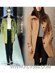 Women Fashion Long Winter Wool Coat with Fur Collar