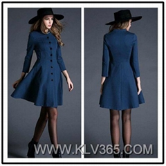 Women Fashion Style Winter Wool Cotton Coat Dress China Online Wholesale