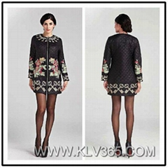 Elegant Women Winter Embroidery Plus Big Size Long Coat Wholesale
