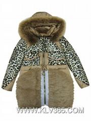 Women Fashion Winter Leopard Duck Down Fox Fur Hooded  Long Jacket China Offer