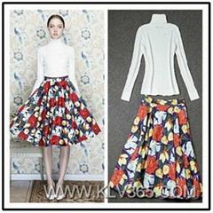 Designer Women 2pieces Flower Skirt Set Long Sleeve Top With Flared Skirt