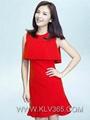 designer women fashion dress red elegant party dress 3