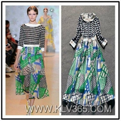 Spring Summer Fashion Ladies Elegant Printed Silk Long Maxi Dress