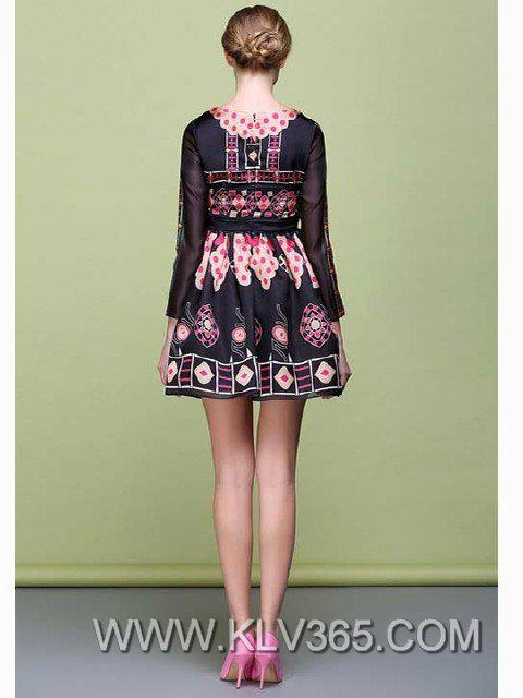 Spring Fashion Women Silk floral Celebrity Party Dress 2