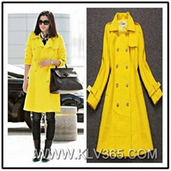 Ladies Fashion Trendy Autumn Winter Double Breasted Wool Long Trench Coat