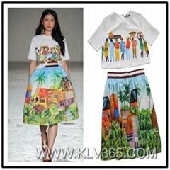 Vintage Women Floral Print Flared Skirt Fashion 2pcs Set Top and Skirt Set