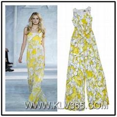 Designer Women Fashion Summer Silk Sleeveles Floral Printed Flared Jumpsuit