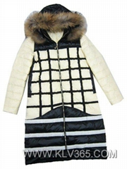 High Quality Designer Fashion women Winter Duck Down Mink Fur Hood Long Jacket