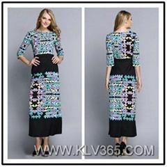 Lady's Fashion Half Sleeve Vintage Printed Jersey Silk Summer Long Maxi Dress