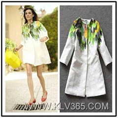 Spring Autumn Women Fashion Design Printed Cotton Plus Size Coat