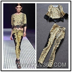 Wholesale Designer Clothing Women Two Piece Leoparde Crop Top and Pants set