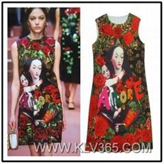 Wholesale Ladies Flower Printed Summer Sleeveless Dress