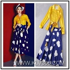 New Fashion Ladies Vintage Classic Printed Skirt And Blouse Set