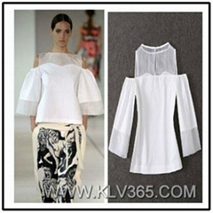 High Quality Designer Clothes Ladies New Fashion Chiffon Off Shoulder Top