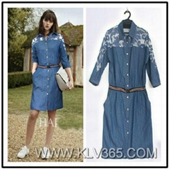 Women Fashion Half Sleeve Embroidery Belted Waist Casual Jeans Dress
