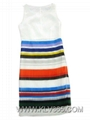Latest  Dress Design Ladies Striped Style Sleeveless Party  Cocktail Dress