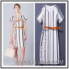 European Dress Design Women Summer Floral Print Elegant Dress