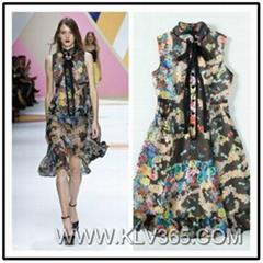 Elegant  Ladies Fashion Summer Sleeveless Chiffon Satin Dress