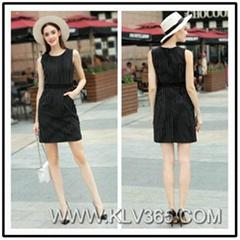 High Quality Women Fashion Clothes Sleeveless Striped Slim Dress