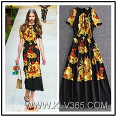Wholesale Designer Clothes Women  Floral Print Long Party Dress
