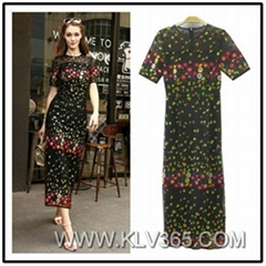 Latest Dress Design Women Fashion Floral Maxi Dress Party Evening Dress