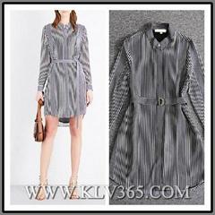 European Fashion Spring Women Long Sleeve Striped Casual Dress