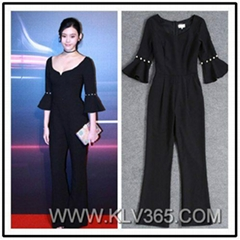 European Style Women Elegant Flared Sleeve Long Jumpsuit Pants