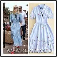 High Quality Designer Women clothing Cotton Printed Long Maxi Dress