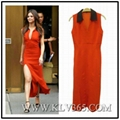 High Quality Designer Clothing Women Fashion Red Low V Neck Sexy Party Dress