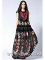 European Style Women Fashion Chiffon Silk Long Flower Party Evening Dress
