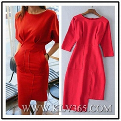 Women's Fashion Design Red Celebrity Bandage Bodycon Dress Wholesale