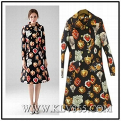 Hot Sale Women Fashion Autumn Winter Vintage Printed Knee Length Long Lapel Coat